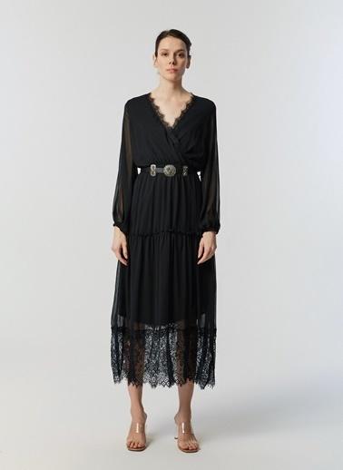 Monamoda Anvelop Kapama Eteği Dantelli Elbise Siyah